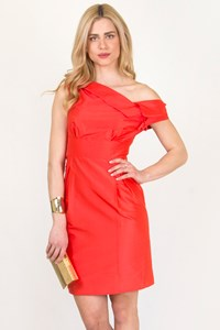 Grazia Bagnaresi Red Silk Taffeta Dress